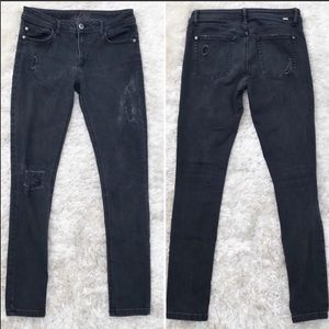 DL1961 Black Distressed Skinny Jeans Denim